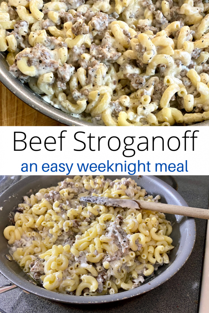 Beef Stroganoff collage with text overlay