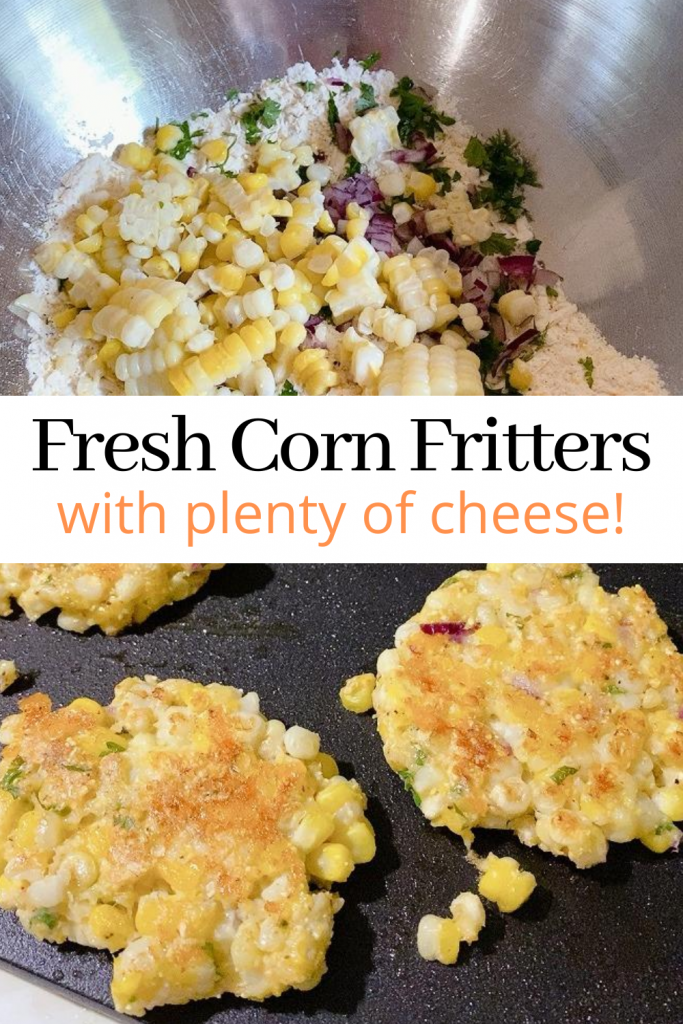homemade corn fritters collage with bowl of ingredients and fitters on a skillet cooking